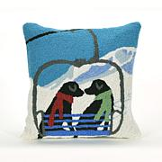 "Liora Manne Ski Lift Love 18"" Square Pillow"