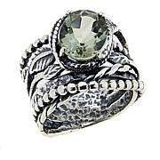 LiPaz 2.25ct Green Prasiolite Textured Sterling Silver Ring