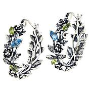 LiPaz Sterling Silver .4ctw Multigem Floral Hoop Earrings