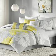 Madison Park Lola Comforter Set Queen Gray/Yellow