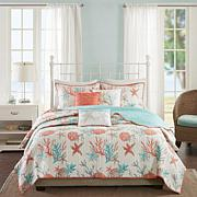 Madison Park Pebble Beach 6-piece Coral Cotton Quilted Coverlet Set