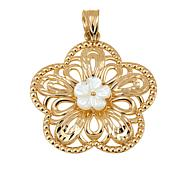 Michael Anthony Jewelry® 10K Mother-of-Pearl Flower Pendant