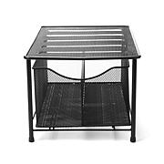 Mind Reader Metal Mesh Storage Basket with Sliding Drawer - Silver