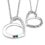 Mother's Birthstone Crystal and Diamond Heart Pendant