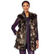 N Natori Faux Fur Vest with Faux Leather Trim
