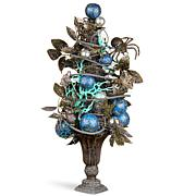 """National Tree Company 23"""" Halloween Tree w/ Blue Ornaments and Spiders"""