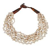 "Natural Beauties White Coconut Shell and Buffalo Horn 21"" Necklace"