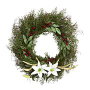 """Nearly Natural 20"""" Cedar, Antlers, Lily and Ruscus with Berries Wreath"""