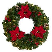 """Nearly Natural 24"""" Poinsettia, Berry and Pinecone Wreath w/ 50 Lights"""