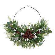 """Nearly Natural 28"""" Christmas Pine, Eucalyptus, and Berries Wreath"""