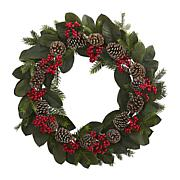 Nearly Natural Magnolia Leaf, Berry Pine & Pine Cone Artificial Wreath