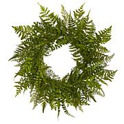 "Nearly Natural Silk Mixed Fern Wreath - 24"""