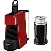 Nespresso Essenza Plus Espresso Machine w/ Milk Frother, Cherry Red