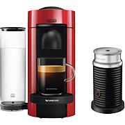 Nespresso VertuoPlus Cherry Red Single-Serve Machine w/Frother
