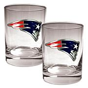 New England Patriots 2pc Rocks Glass Set