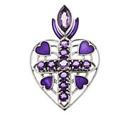 Nicky Butler 3.7ctw Amethyst Heart Cross Sterling Silver Pendant