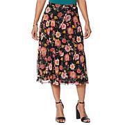 Nina Leonard Printed Power Mesh Tiered Skirt