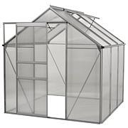 Ogrow Walk-In 6' x 6' Aluminum Greenhouse w/Sliding Door & Roof Vent