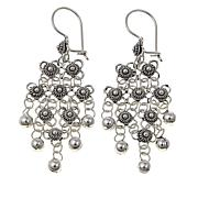 Ottoman Jewelry Sterling Silver Beaded Floral Drop Earrings