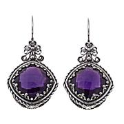 Ottoman Silver 11.8ctw Cushion-Cut Amethyst Earrings