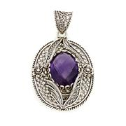 Ottoman Silver Jewelry 13ct Amethyst Floral Pendant
