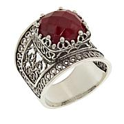 Ottoman Silver Jewelry Collection Corundum Bold Filigree Ring