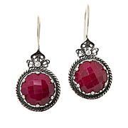 Ottoman Silver Sterling Silver Gemstone Floral Filigree Drop Earrings