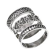 Ottoman Sterling Silver Set of 3 Stackable Filigree Rings