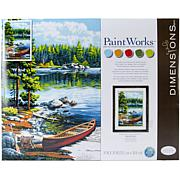 """Paint Works Paint By Number Kit 14"""" x 20"""" - Canoe By The Lake"""