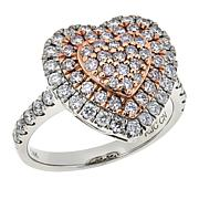 Passport to Gems 14K .95ctw Pink and White Diamond Heart Ring