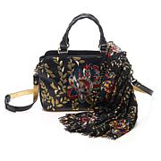 Patricia Nash Angelin Embroidered Satchel with Scarf