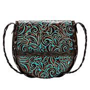 Patricia Nash Cavallina Floral Leather Saddle Bag