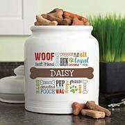 Personalized Dog Words Multicolor Treat Jar