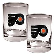 Philadelphia Flyers 2pc Rocks Glass Set