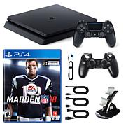 "PS4 Slim 1TB Console w/Sleeve, Dock and ""Madden NFL 18"""