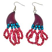 Rara Avis by Iris Apfel Purple and Pink Wood Bead Dangle Earrings