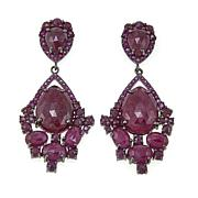 Rarities 34.02ctw Ruby Black Rhodium Drop Earrings
