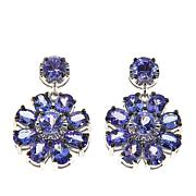 Rarities 3.96ctw Blue Tanzanite Sterling Silver Flower Drop Earrings