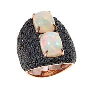 Rarities Ethiopian Opal and Black Spinel Ring