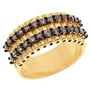 Rarities Gold-Plated 1ctw Champagne Diamond Two-Row Band Ring