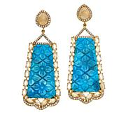 Rarities  Gold-Plated Compressed Turquoise and Gemstone Drop Earrings