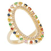 Rarities Gold-Plated Multigemstone Open Oval Ring