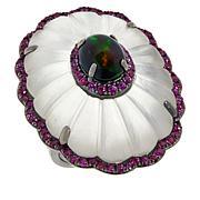 Rarities Sterling Silver Multi-Gemstone Flower Ring