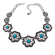"""R.J. Graziano Simulated Turquoise 19-3/4"""" Flower Station Necklace"""