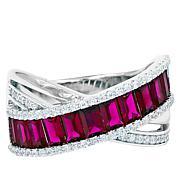 "Robert Manse ""CZ RoManse"" Crossover Design Colored Stone Band Ring"