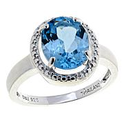 Sevilla Silver™ 3.25ct Oval Blue Topaz Halo Ring