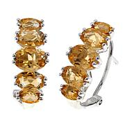 Sevilla Silver™ 3.94ctw Citrine 5-Stone Omega-Back Earrings