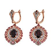 Sheryl Jones 6.16ctw Red Zircon and Multigem Rose Gold-Plated Earrings