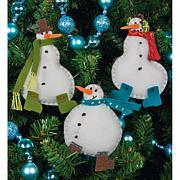 Simple Snowmen Ornaments Felt Appliqués - Set of 3
