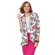 Slinky® Brand 3/4-Sleeve Printed Textured Knit Jacket
